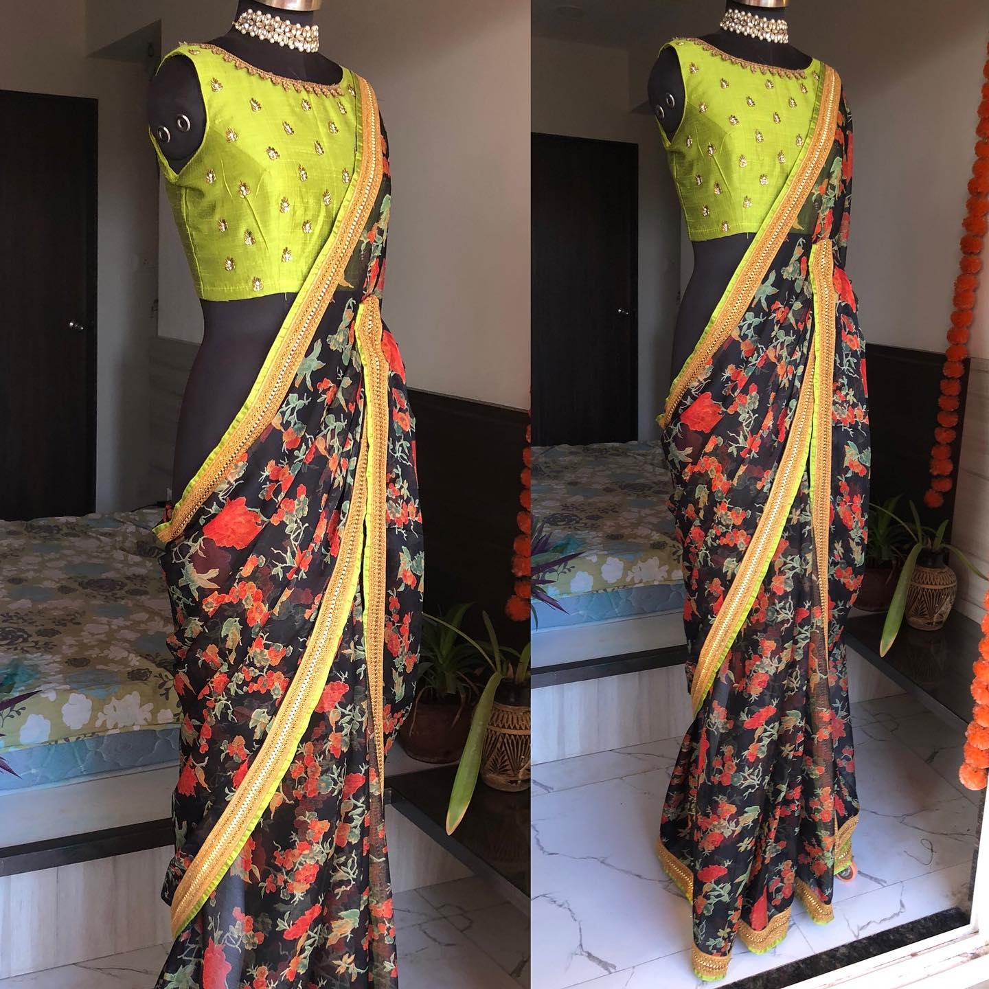 New black Floral Chiffon with green Border and matching blouse..! the blouse comes with heavy maggam works and sleeves includes the same..!!   They ship worldwide  For orders and Enquires watsapp  on 8072774265 2021-07-28