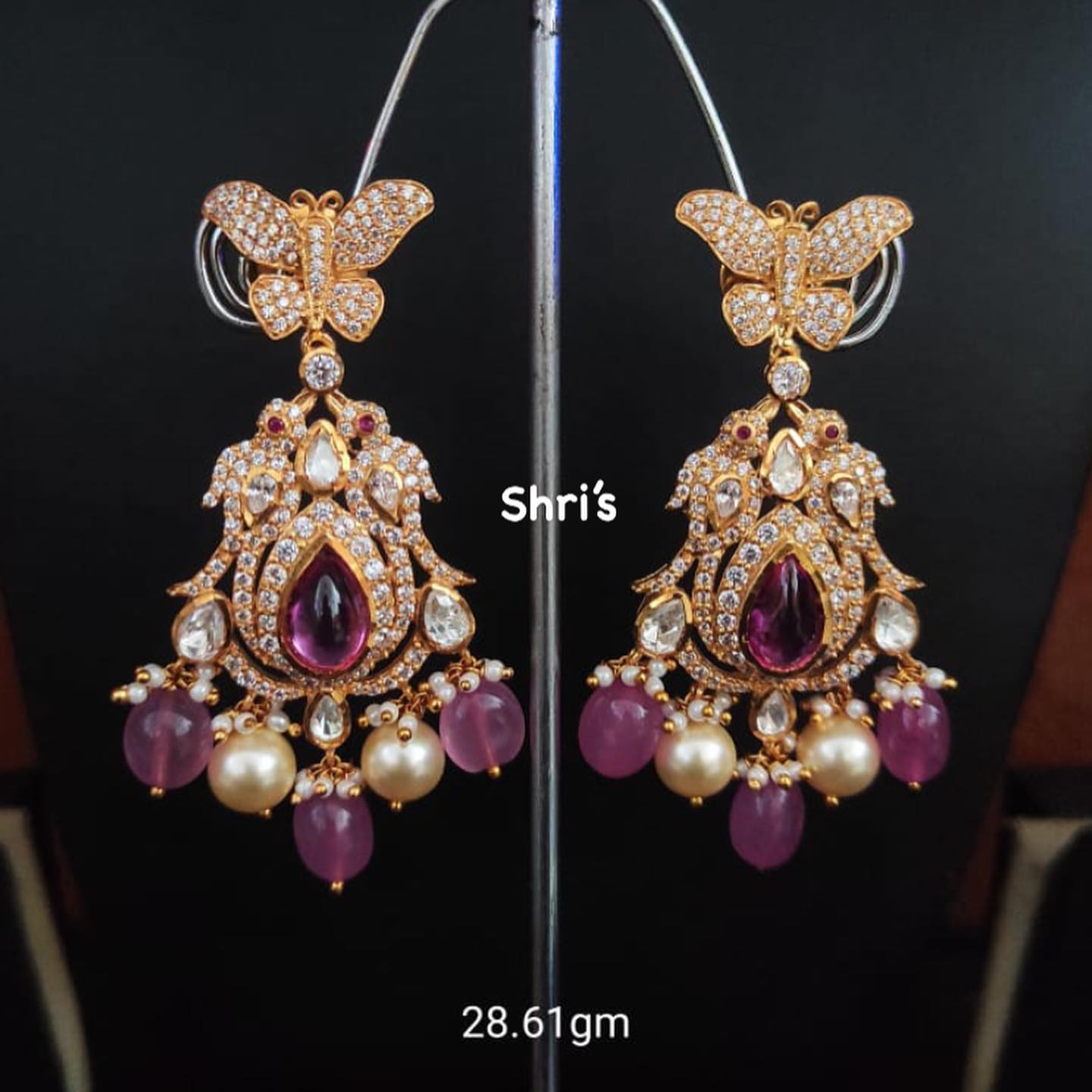 Exclusive Moissanite polki ear rings necklace  Only avlbl  @shrisilverjewellery_28  Gold replica designs in silver For orders Dm @7981196428 2021-07-28