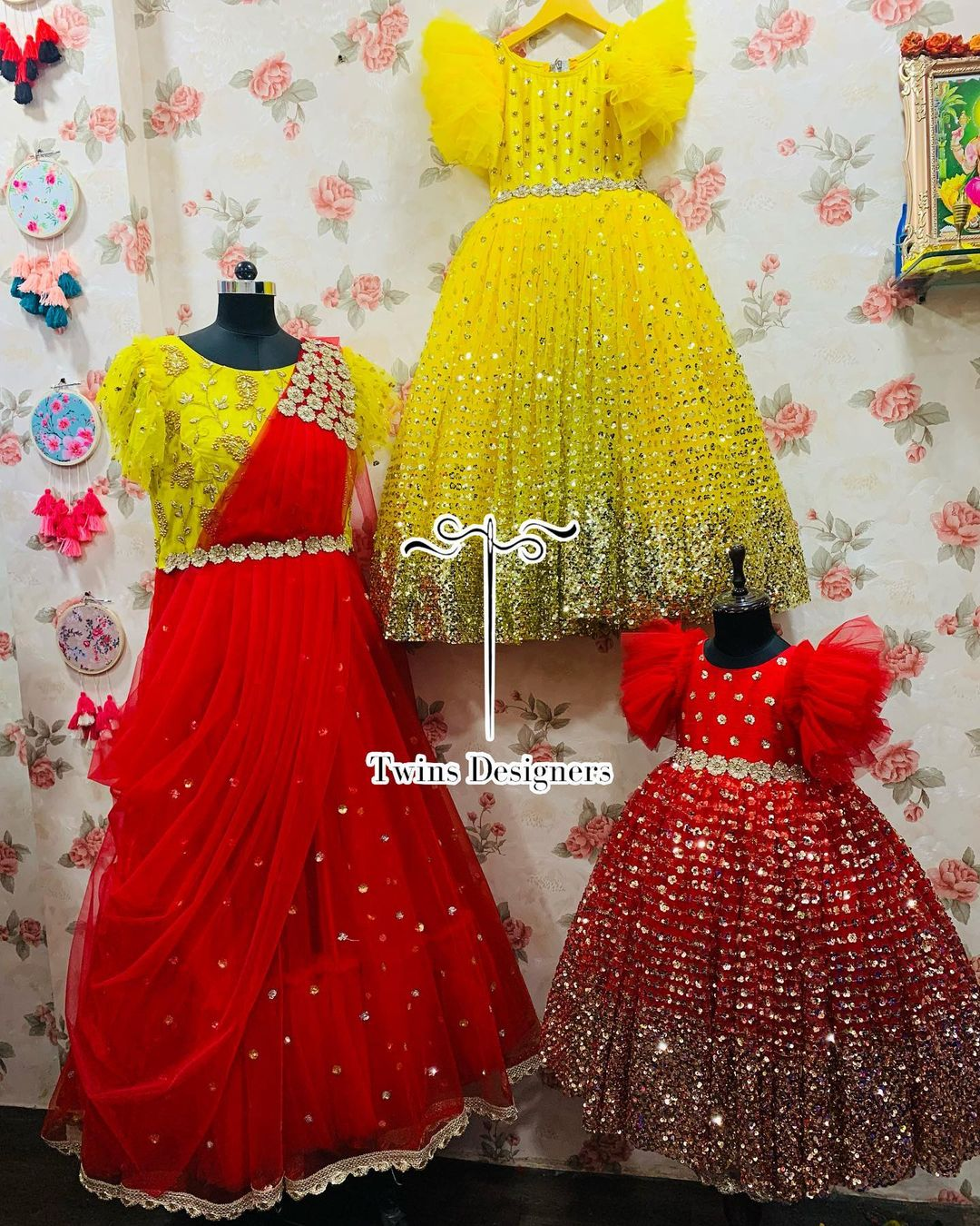 Beautiful Mom and me out fit. Stunning Red and yellow color kids gowns with mirror work. 2021-07-28
