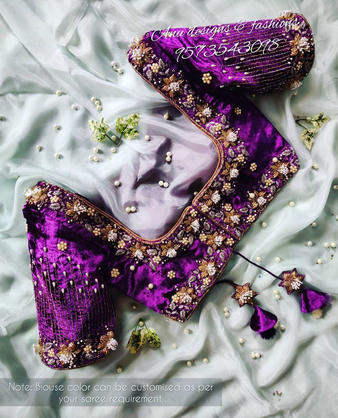 Stunning purple color velvet cloth bridal blouse with floral 3D maggam work. 2021-07-28