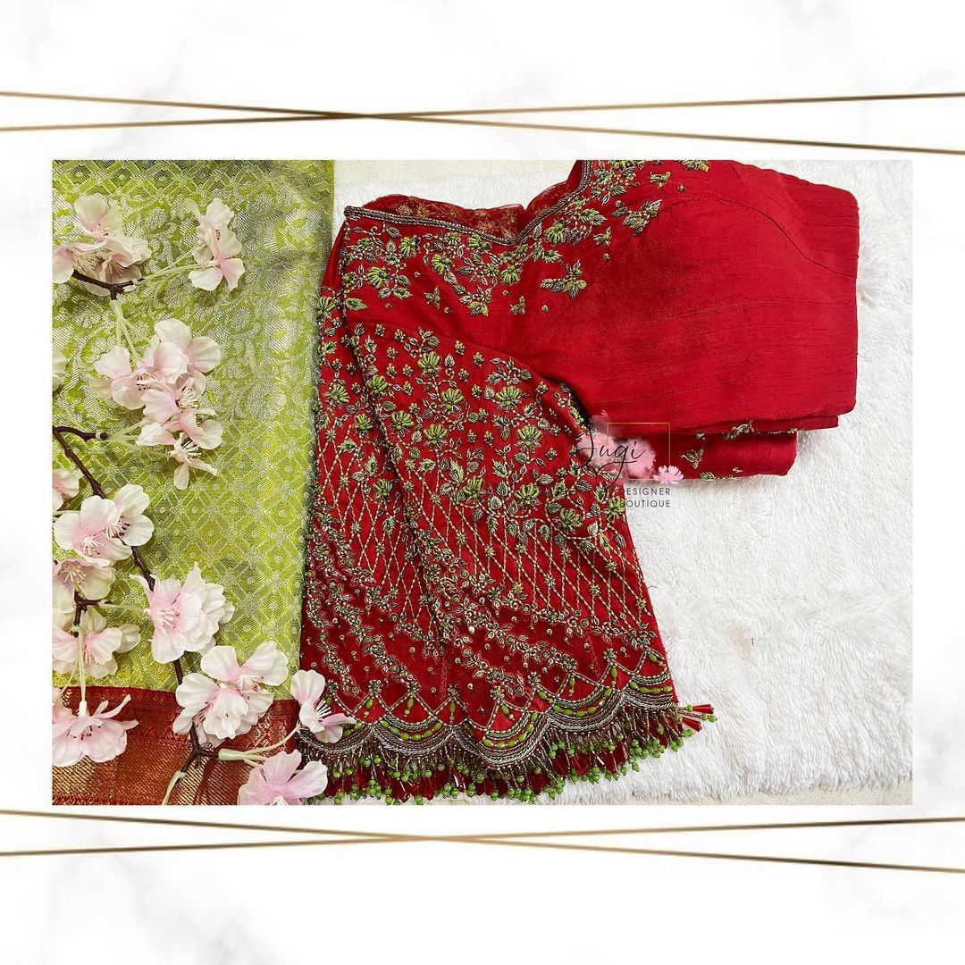 Lovely red color bridal blouse with tiny floral hand embroidery aari work.  2021-07-28