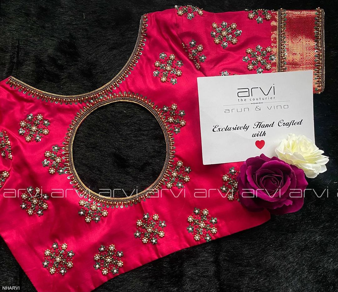 Stunning bridal blouse with hand embroidery pearl and bead aari work.  2021-07-28