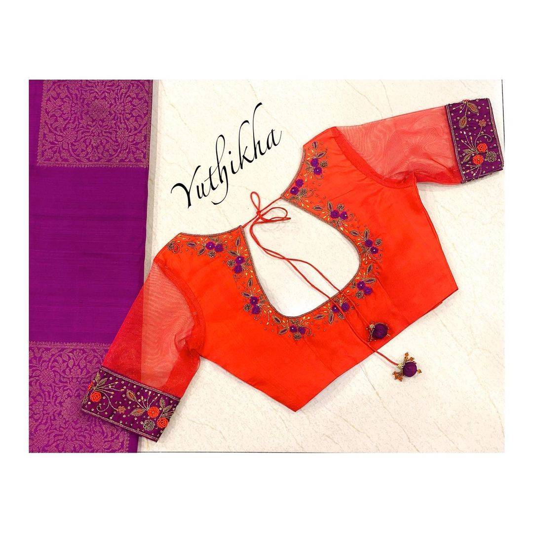 Stylish net sleeve embroidery blouse. Blouse with floral and creeper hand embroidery  work on neckline. 2021-07-28