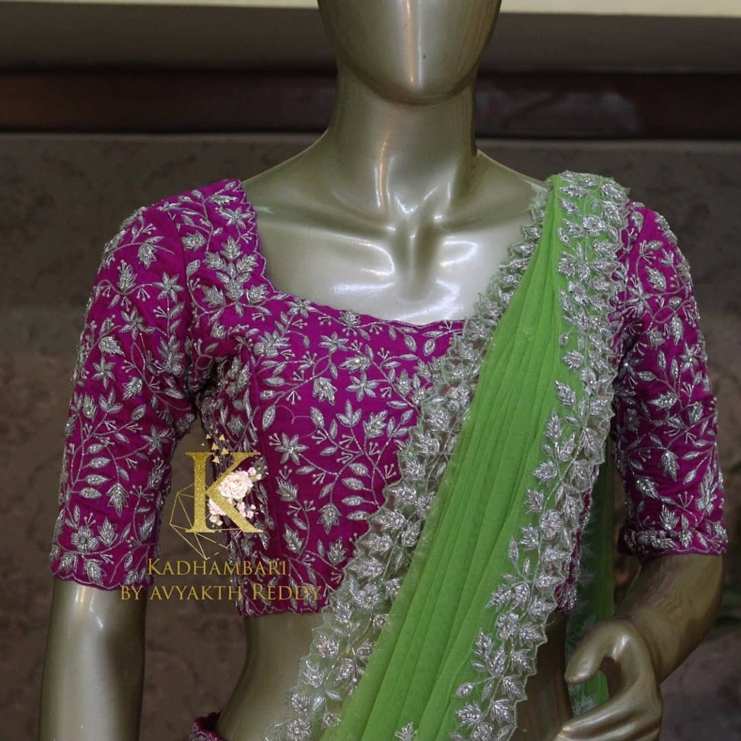 Stunning purple color bridal or wedding blouse with creeper and leaf hand embroidery silver thread maggam work.   2021-07-28