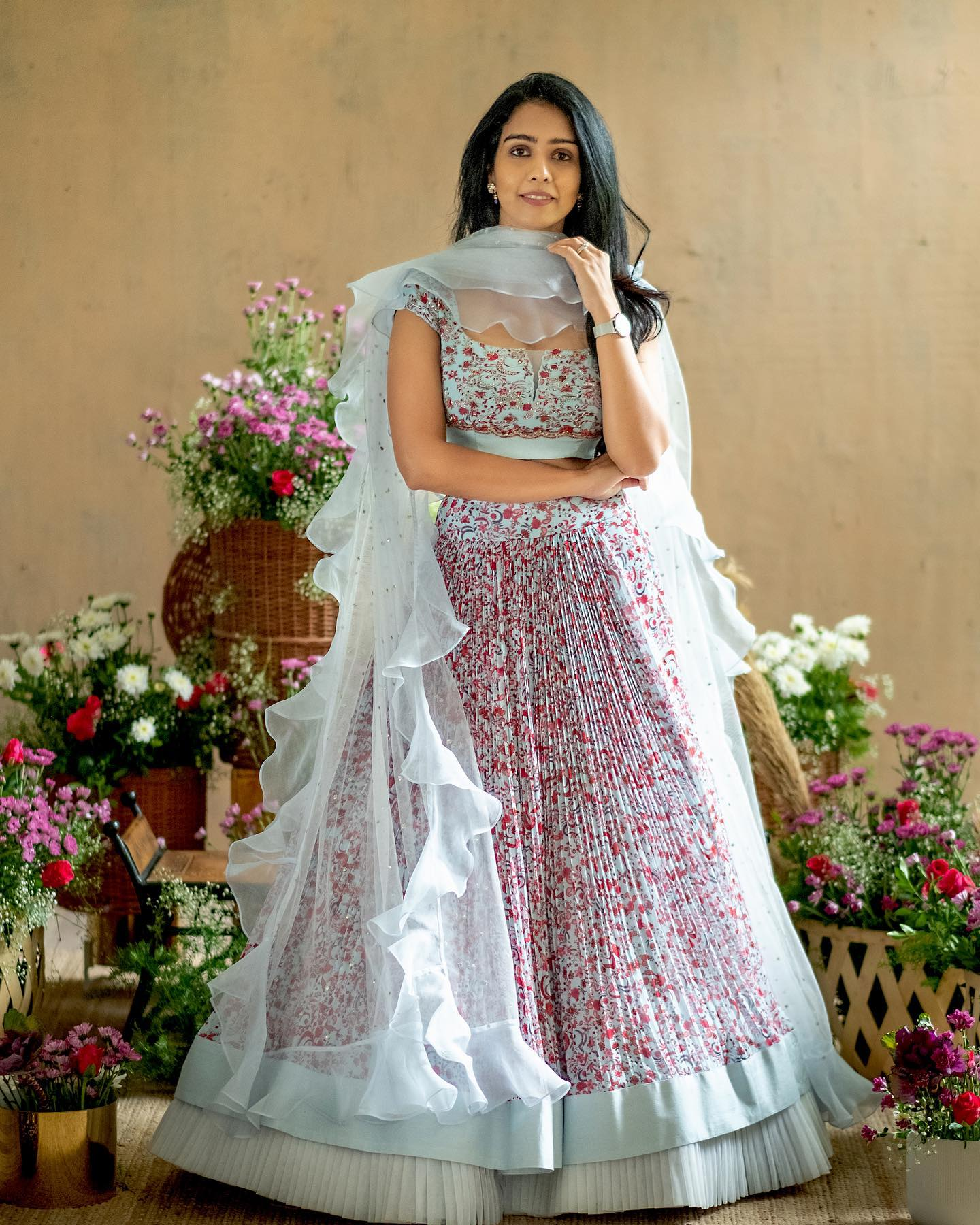 Gorgeous ice blue color party wear lehenga and blouse with ruffle dupatta. 2021-07-29