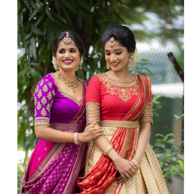 Bridal pattu halfsarees. Stunning pattu lehengas and maggam work blouse with pattu dupatta. 2021-07-29