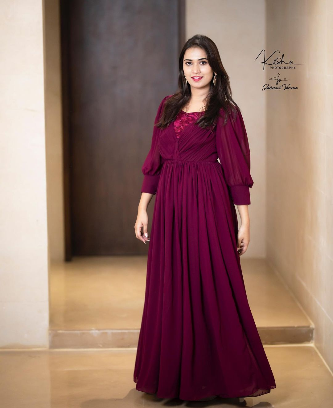 Valentine Wine .  Yet another classy and stylish wine georgette gown from collection of statement gowns .  Grab this gown that looks appealing to pull off to any event. Colour and design customisations available.  In frame : Honey Reddy. Clicked by : keshu. 2021-07-29
