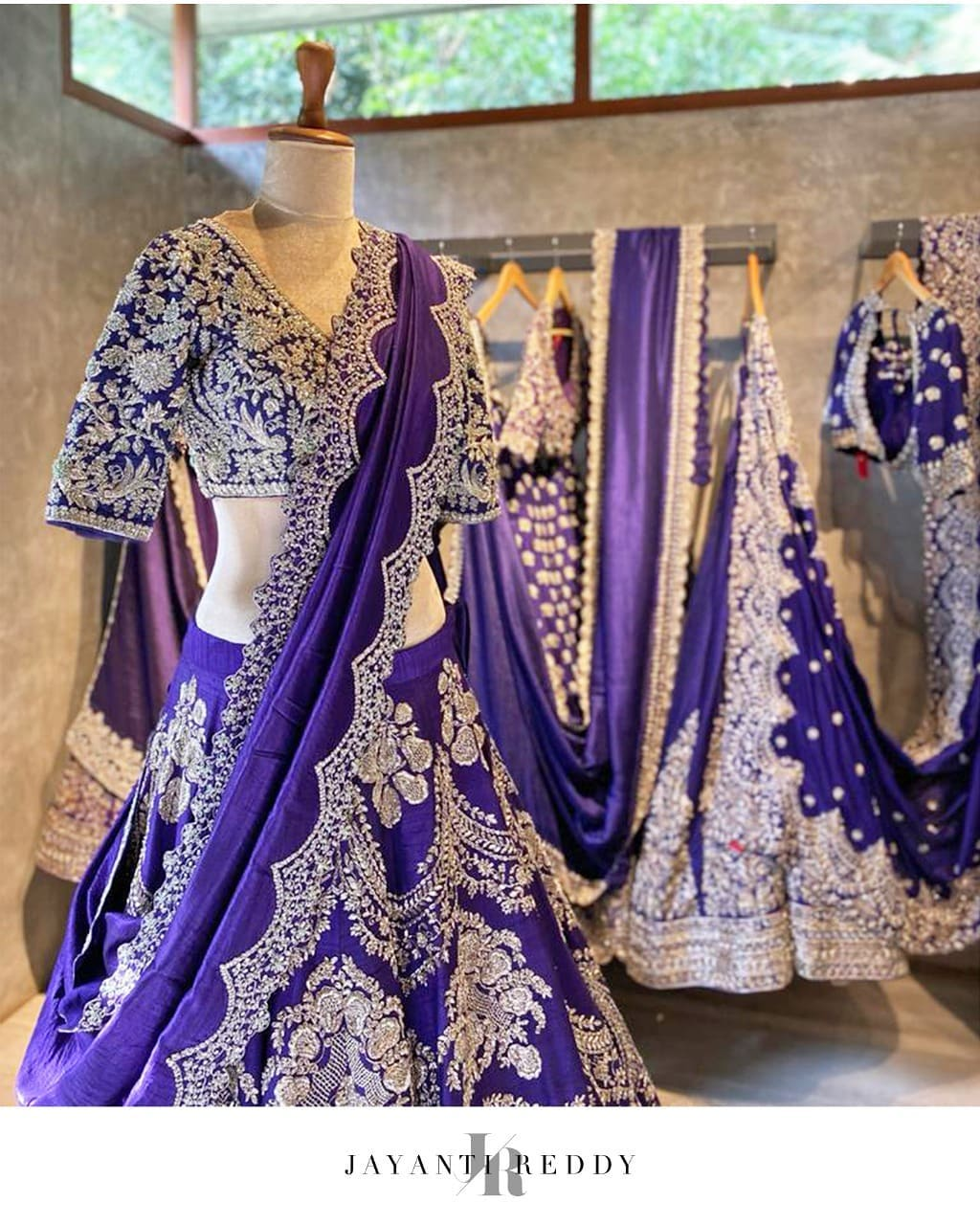 Floral inspired embroidery with tones of royalty for upcoming festive season. Bridal lehenga with floral embroidery. 2021-07-29