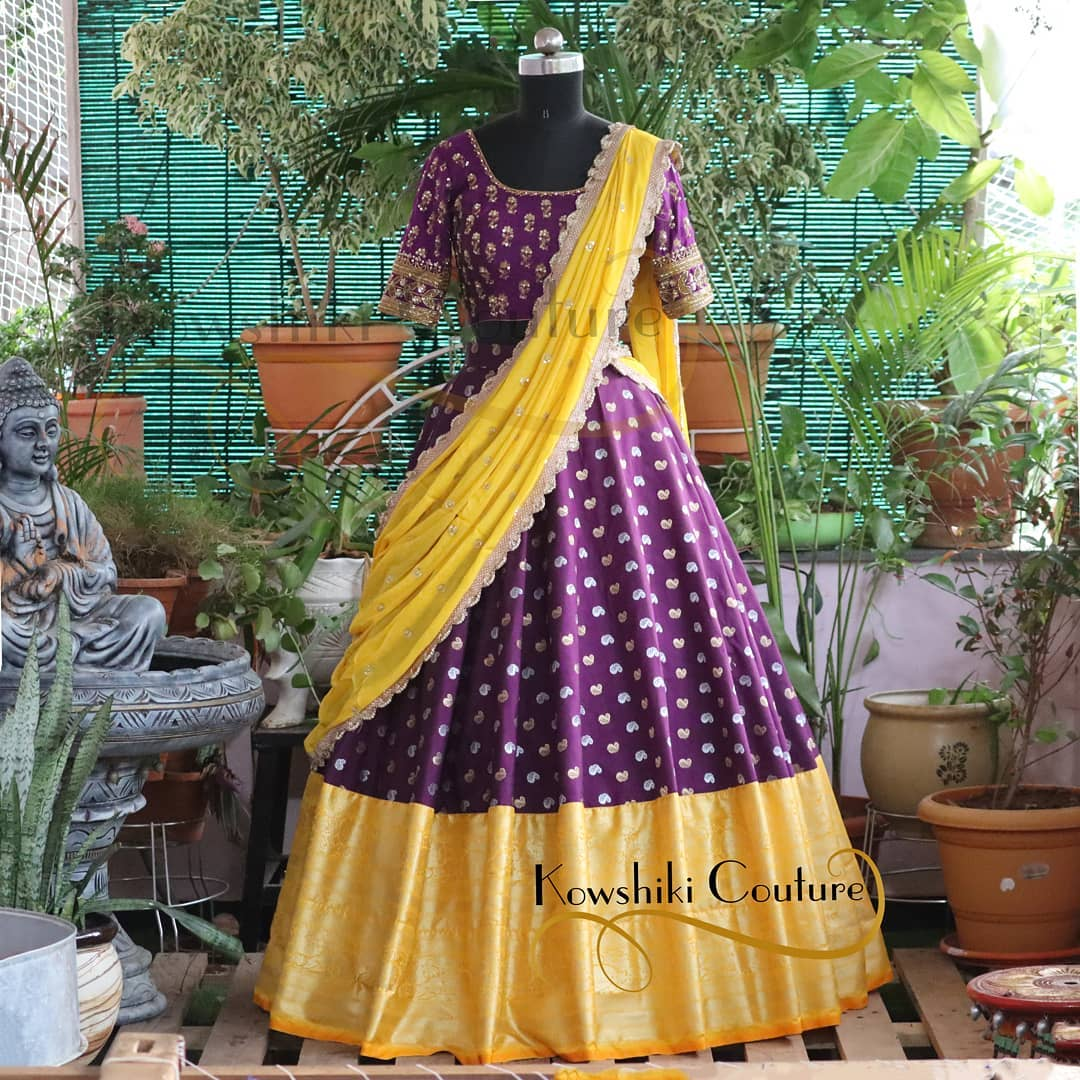 Pure Banarasi silk skirt with Kanchi Pattu border in dark Purple and Yellow Combo. 2021-07-29