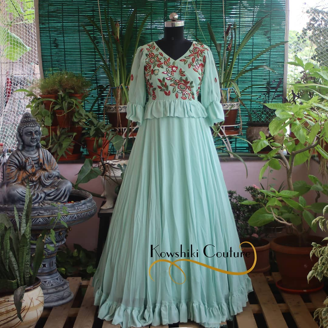 Indo-Western Peplum top with Skirt looks elegant and leaf embroidery on top further adds to your look 2021-07-29
