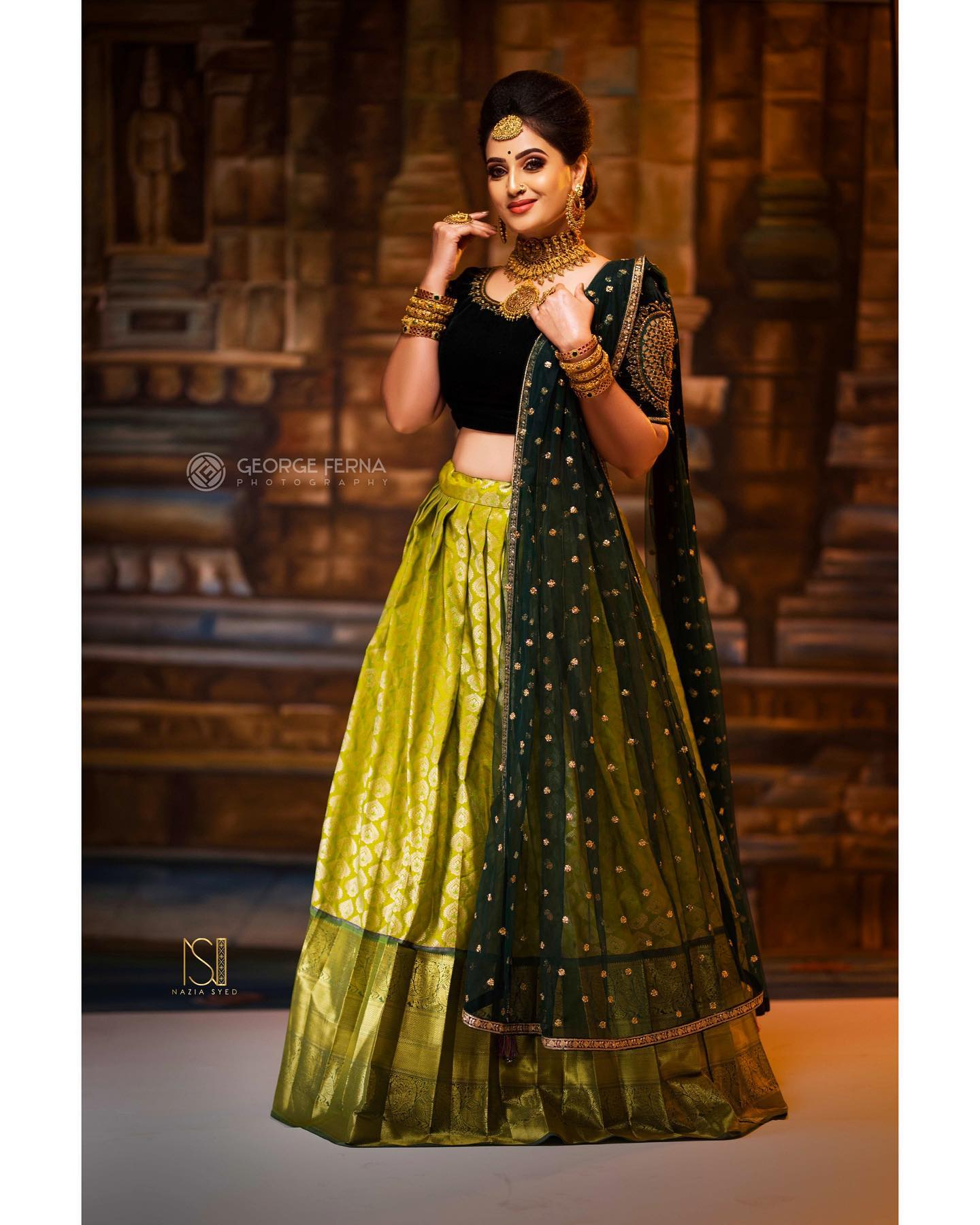 Style your classic velvet cut work blouse with exquisite lime green lehenga to stand out this wedding season! ✨ Dm or whatsapp to 7092586311 for more enquiries. 2021-07-30