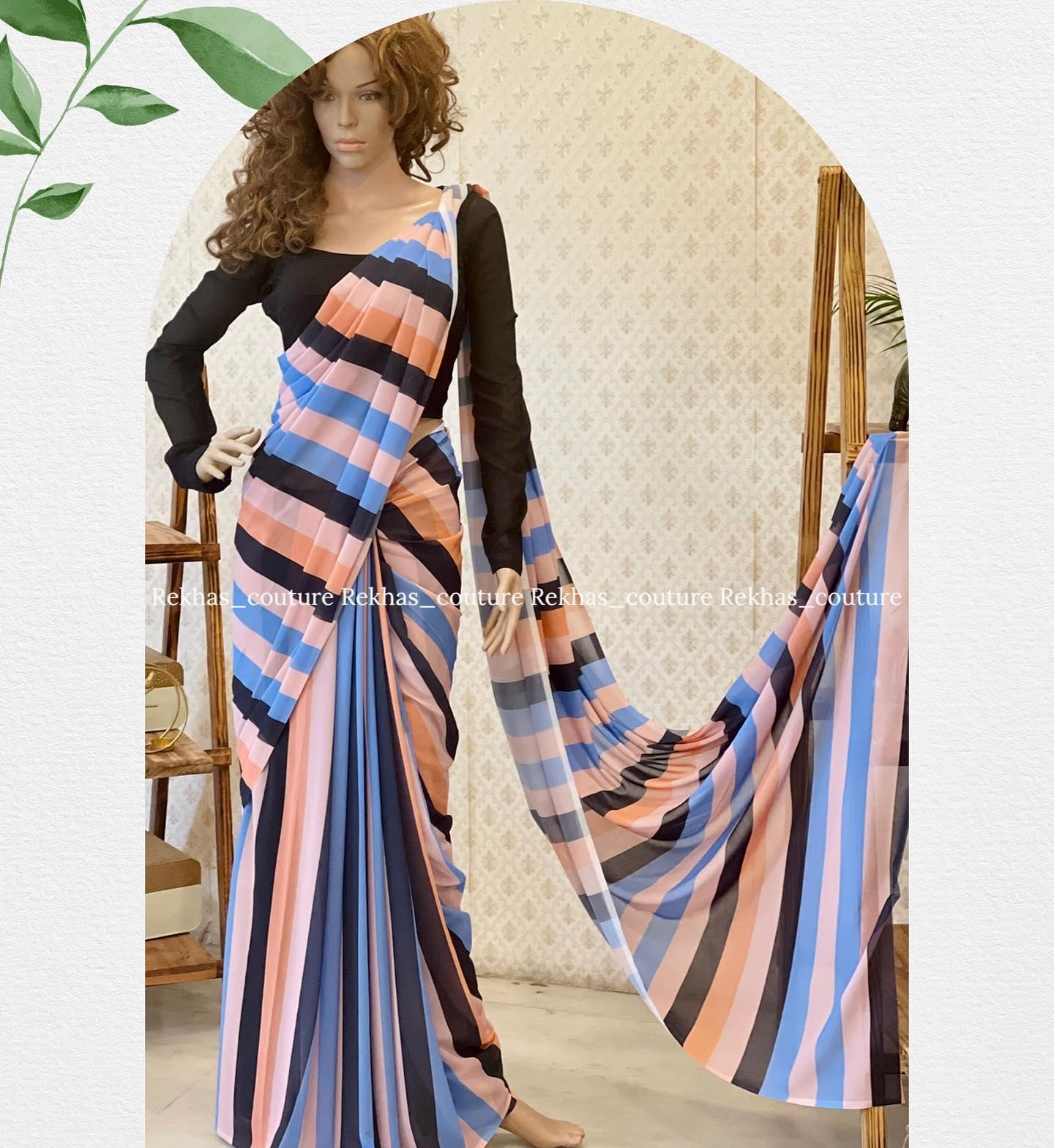 Stunning multi color leheriya saree with black full sleeve blouse. 2021-07-30
