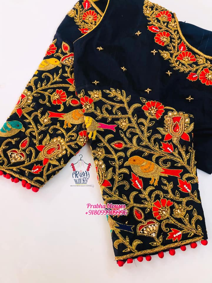 Stunning navy blue color bridal blouse with creeper and sparrow hand embroidery maggam work.   2021-07-30