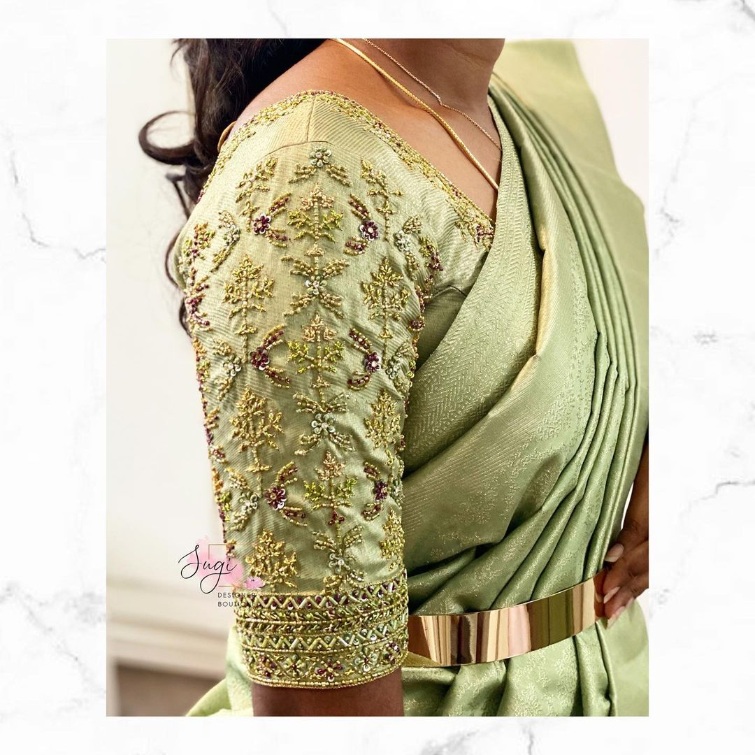 Stunning pista green color bridal blouse sleeve with aari work. For bridal work appointments please call @ 9942769656 2021-07-30