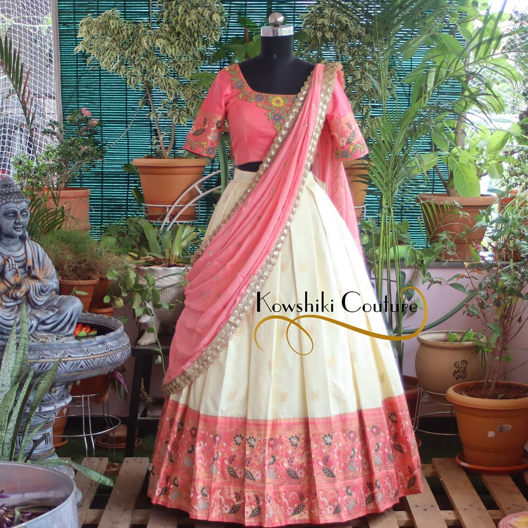 Gorgeous off white and blush pink color combination lehenga and blouse with dupatta. Blouse with aari work. 2021-07-30
