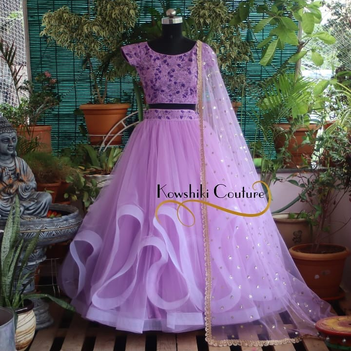 Stunning Double Layer Ruffled Lehenga in lavender perfect for Reception. 2021-07-30