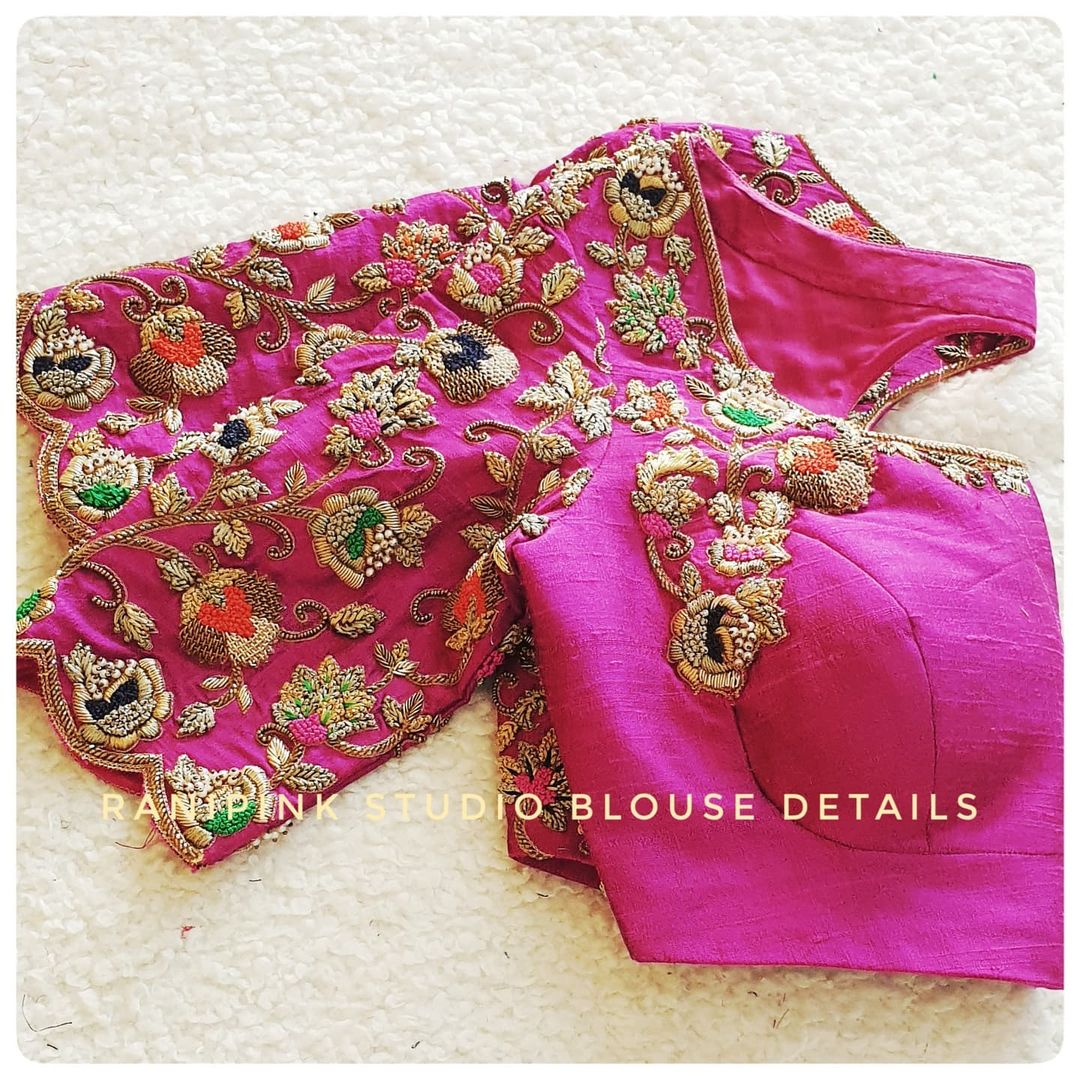 Stunning pink color bridal blouse with floral creeper gold thread and stone maggam work. 2021-07-30