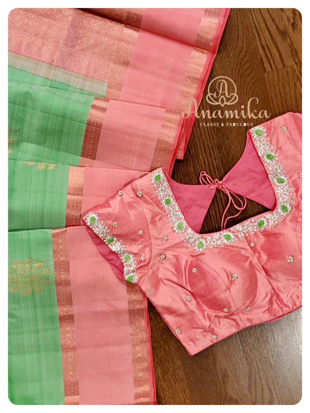 Light weight Kanchi pattu saree with a spacing border - in a amazing pastel color combo … paired with an intricately and delicately designed hand worked blouse …  An owners pride and a neighbors envy …