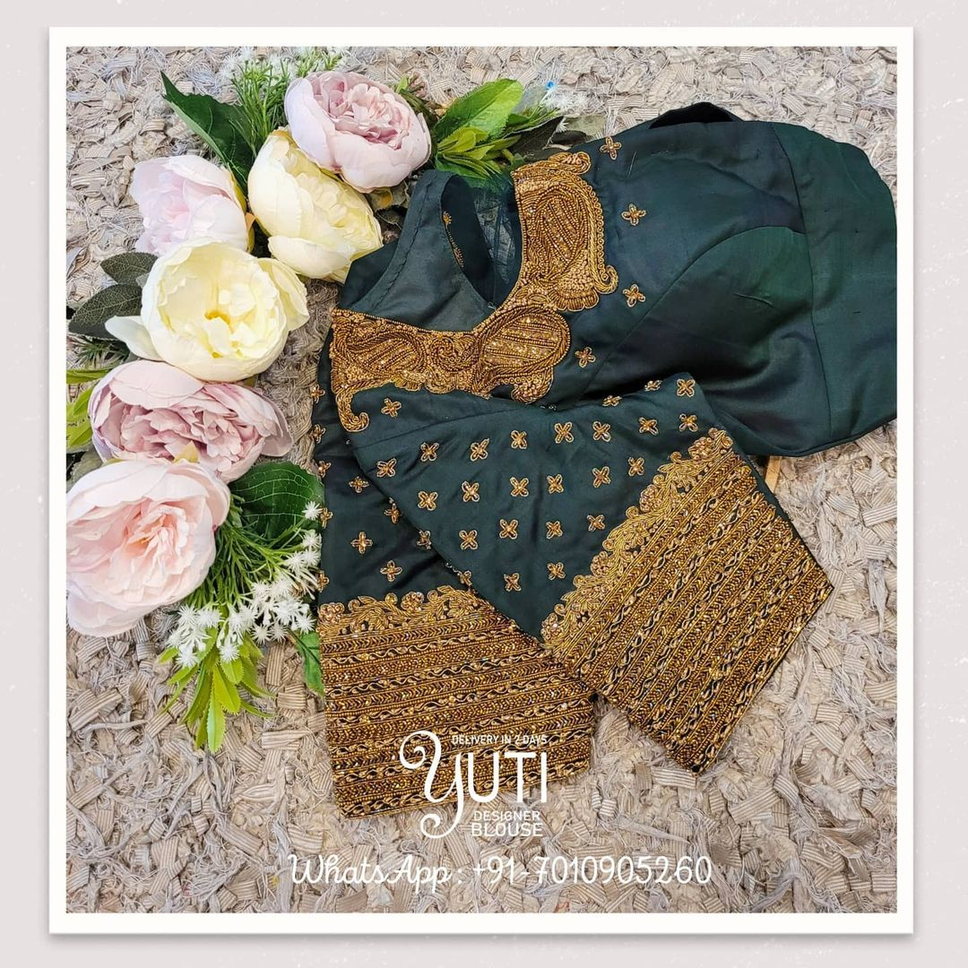 Beautiful bottle green color bridal blouse with bead and gold thread heavy maggam work. 2021-07-31