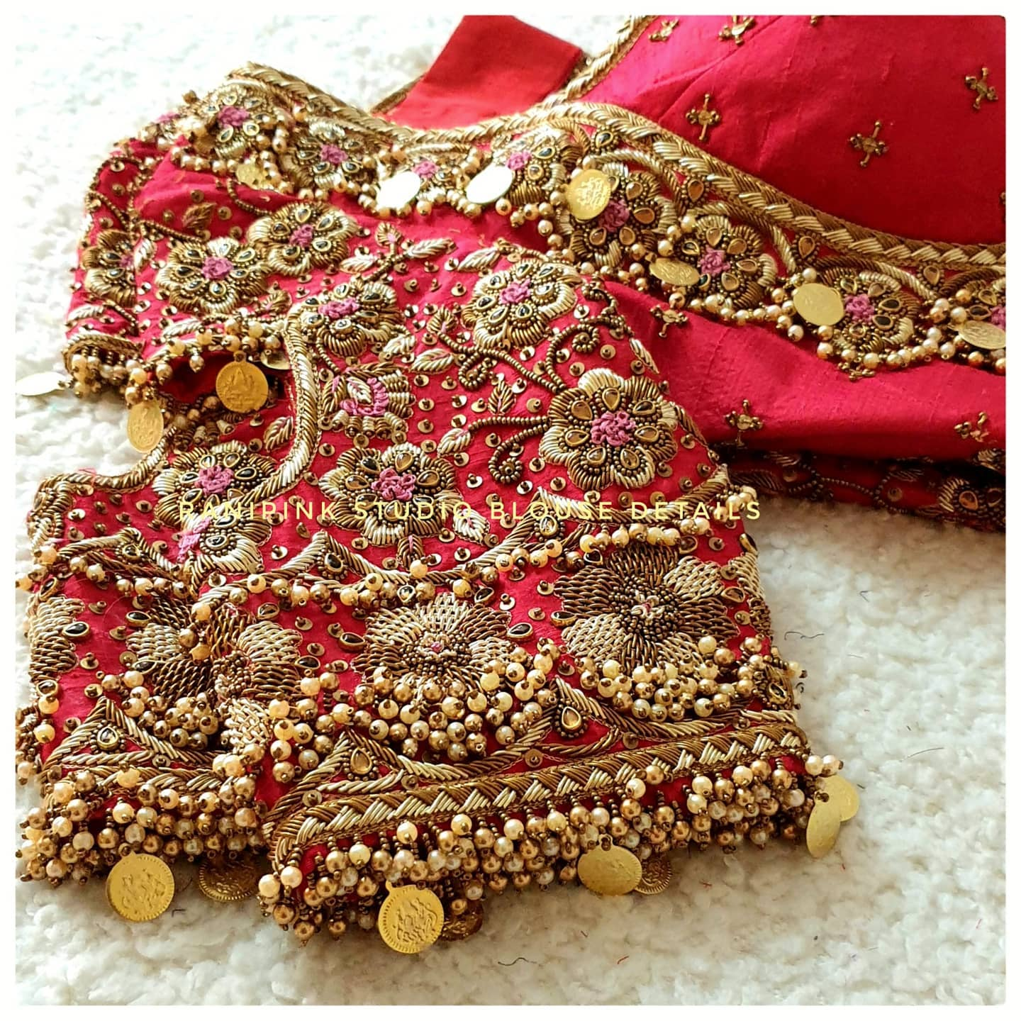 Blouses that will take your breath away. Gorgeous red color wedding blouse with gold thread bead kasu zardosi work. For appointments call or whatapp us at 8884620620. 2021-08-01