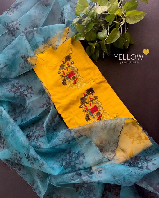 Yellow Muslin Kurti with high neck and side buttons and beautiful deer embroidery paired up with scalloped floral organza dupatta . . Size - M  L  XL  XXL Price - 3399 INR . . Kindly whatsapp  @ 7995038888 for placing orders . See less 2021-08-01