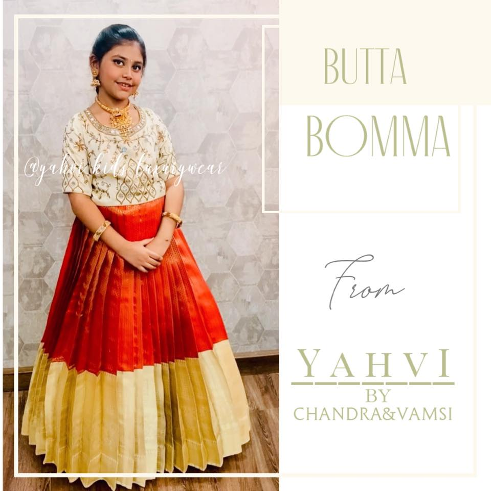 Butta bomma series. Beautiful red kids lehenga and off white long blouse. Blouse with hand embroidery work.   2021-08-01
