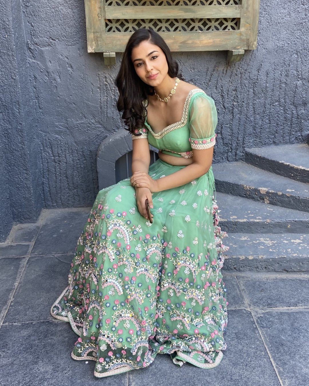 Stunning English olive green color bridal net lehnega and blouse with classy hand embroidery  work. 2021-08-01