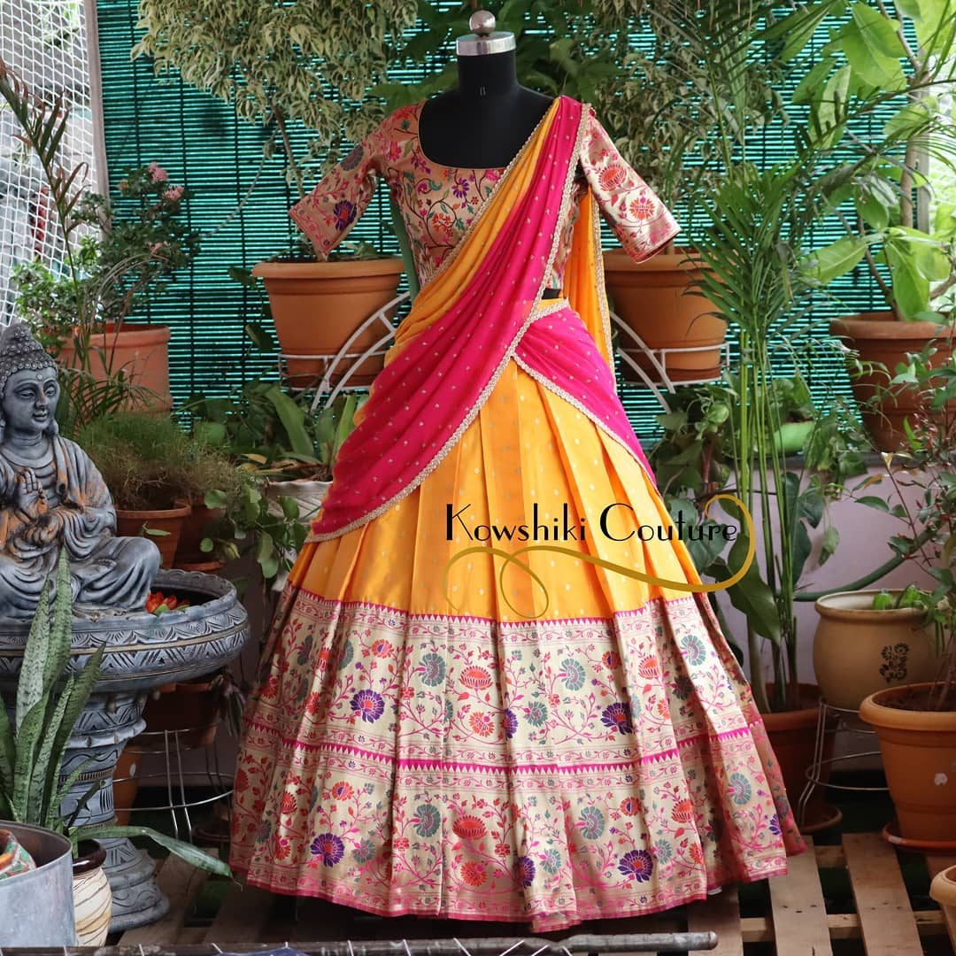 Authentic Paithani Heavy border Half Saree in vibrant yellow and Pink combo