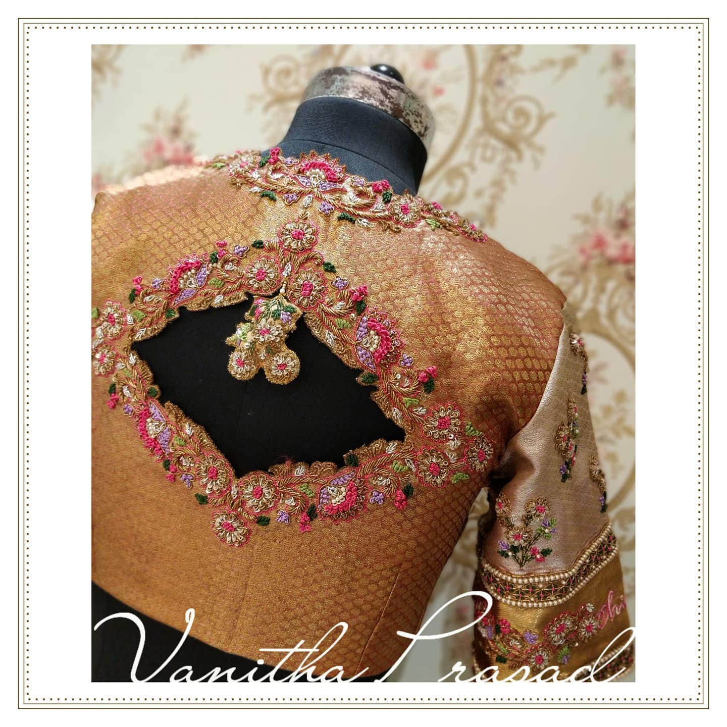 Stunning brocade bridal blouse with creeper and floral maggam zardosi and cut work. Blouse with hand embroidery waist belt.  2021-08-02