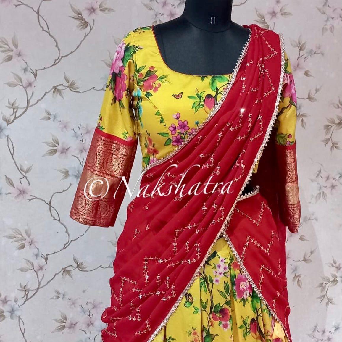 Flaunt this upcoming SravanaMaasam with  Stunning yellow kanchi floral lehangas