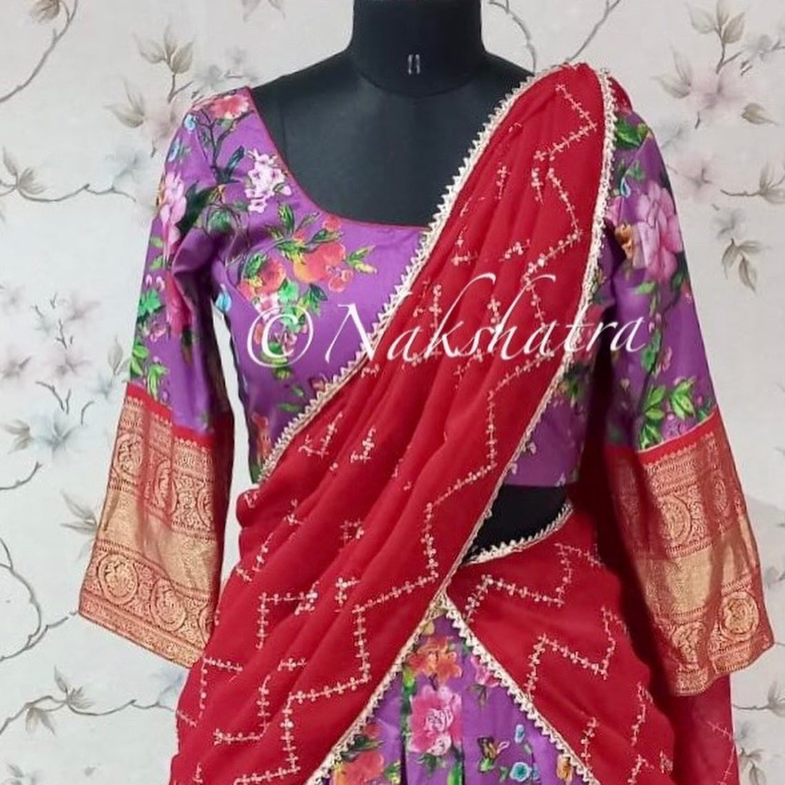 Flaunt this upcoming SravanaMaasam with  Stunning lavender kanchi floral lehangas