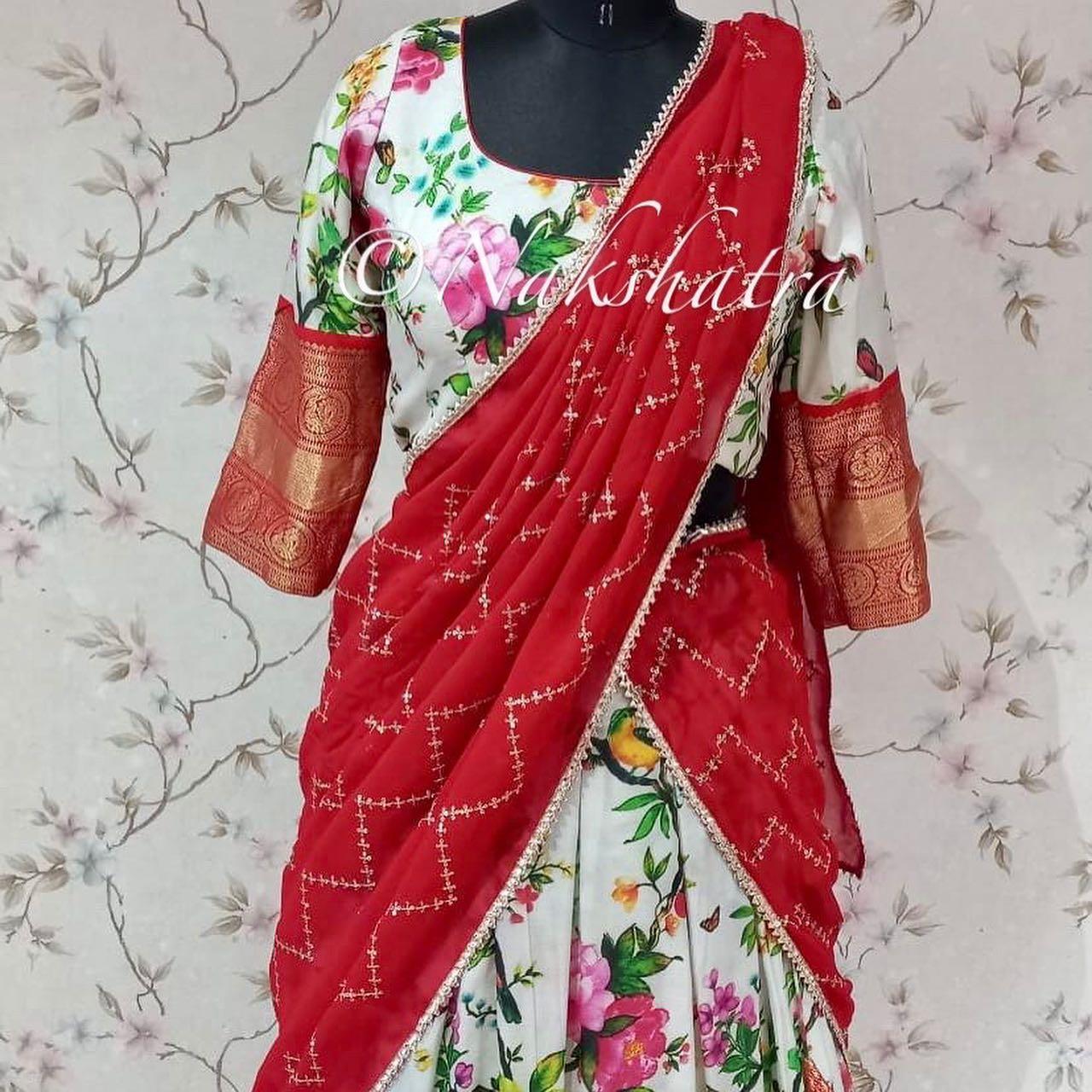 Flaunt this upcoming SravanaMaasam with  Stunning white kanchi floral lehangas