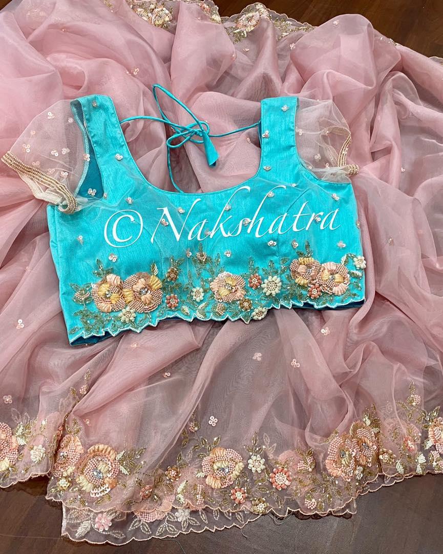 Stunning blush pink organza handwork sarees with handwork blouses. 2021-08-03