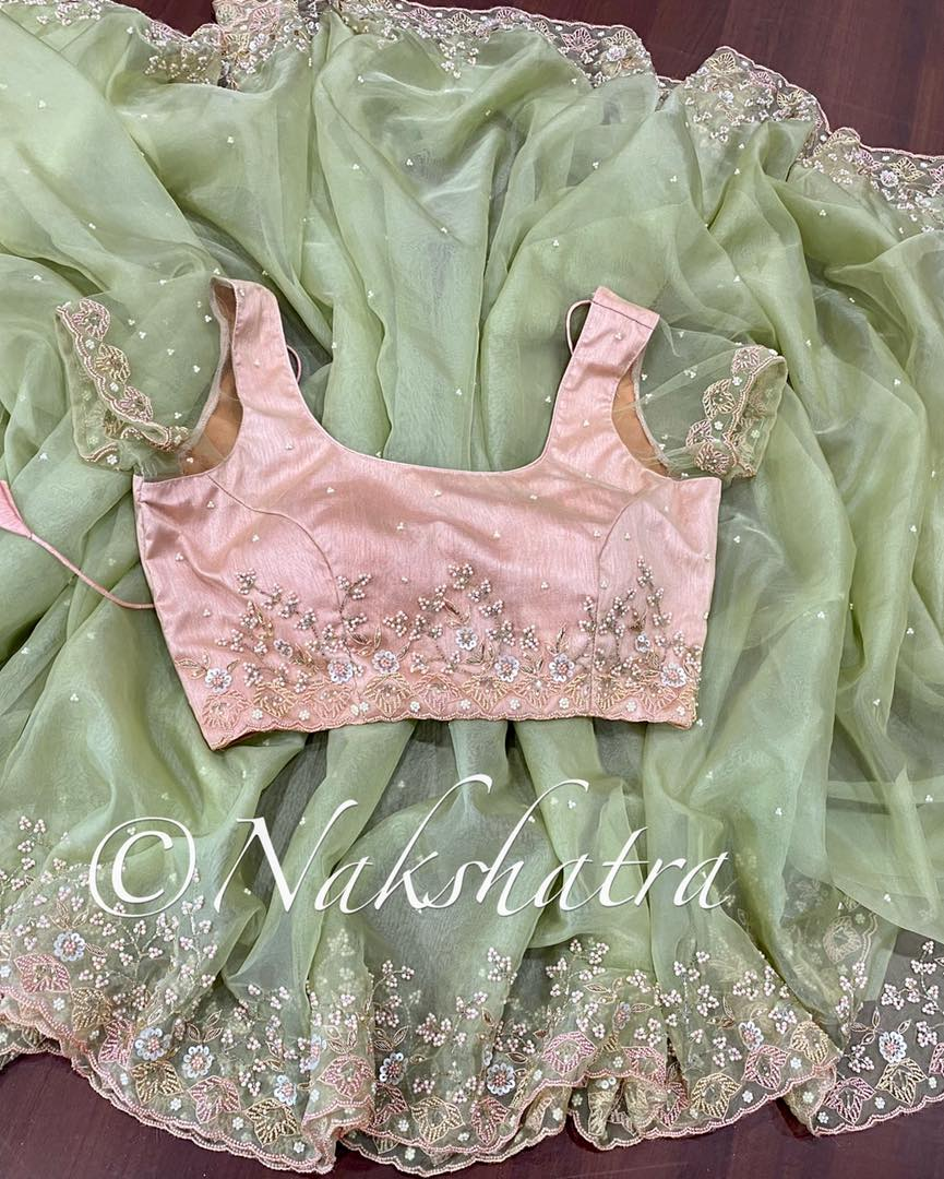 Stunning olive green organza hand work sarees with handwork blouses 2021-08-03
