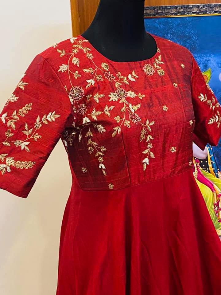 Material: handmade maggam work on pure rawsilk long frock With falling rawsilk flare. Price : Rs.6000( without dupatta) Rs.7500( with dupatta). They can customize size as per your requirement.  They have international shipping service too.  For Orders and Enquiry Reach  on  WhatsApp +91 9959021569. 2021-08-03