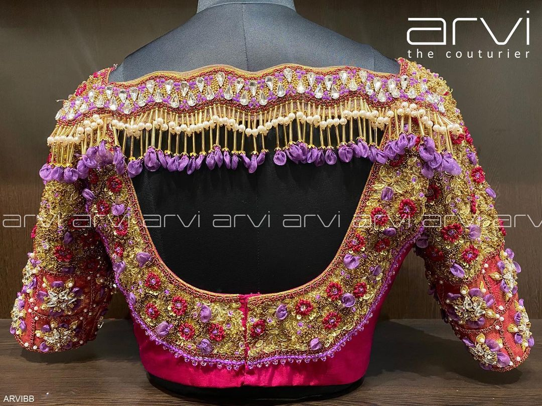 Gorgeous heavy bridal blouse with floral 3D aari work. 2021-08-03