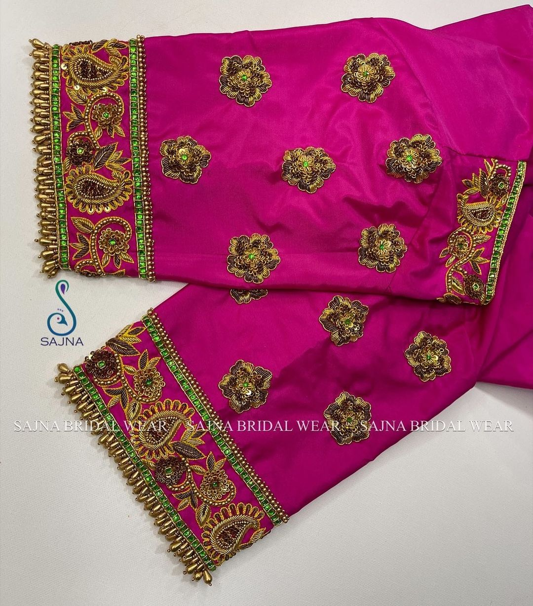 Stunning red color bridal blouse with rose floral and creeper hand embroidery zardosi work.  2021-08-03