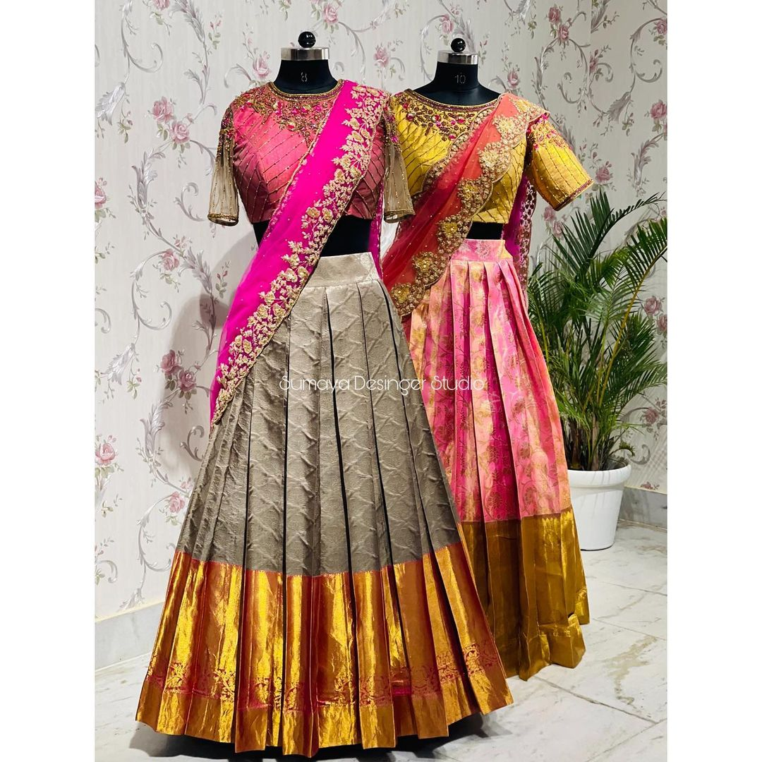 Exclusive Silk Half saree. Stunning pink and gray color pattu lehengas and embroidery blouse with net dupatta. Traditional look is the latest and all time favorite of women.  2021-08-03
