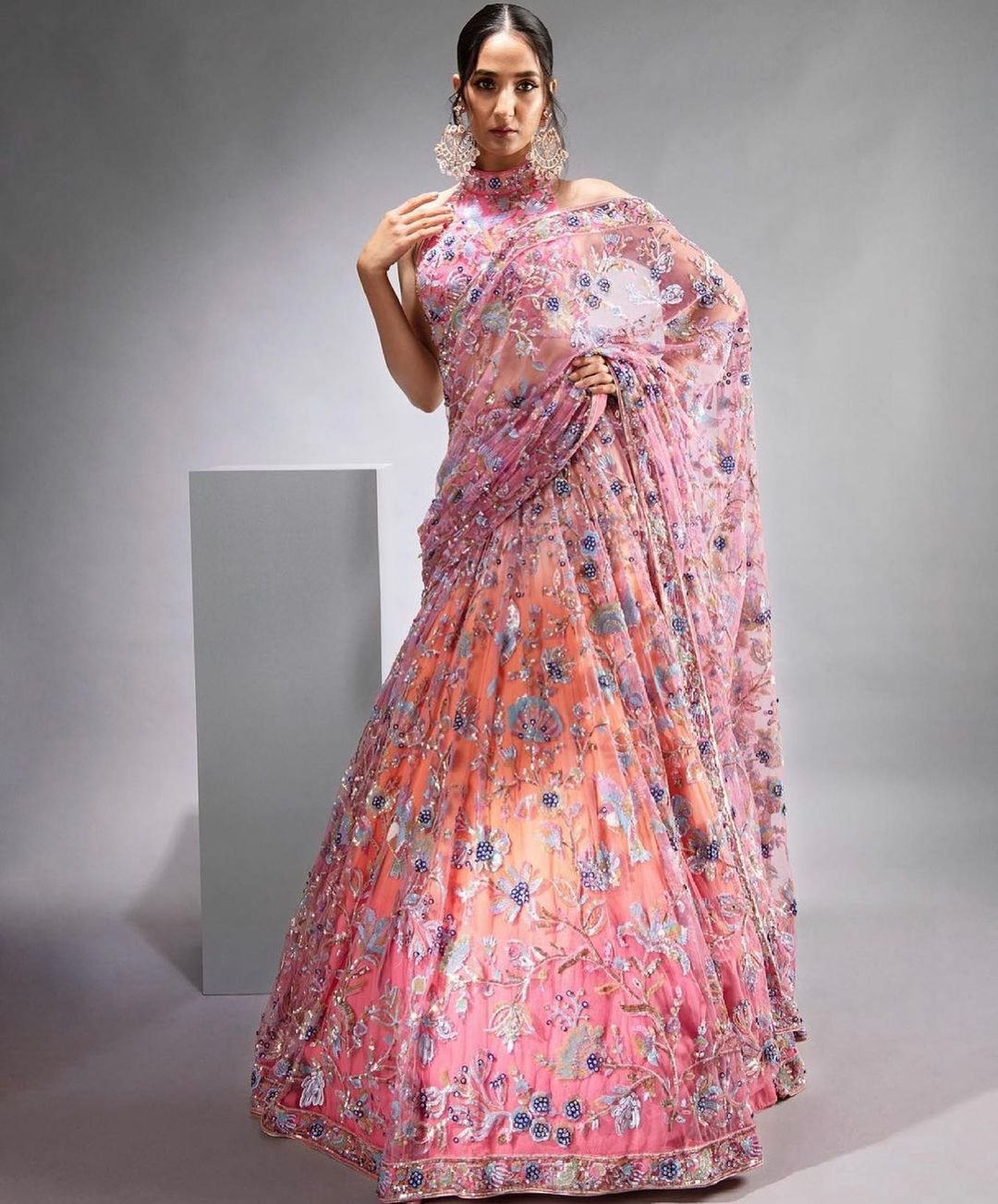 Valley of flowers by sv . Stunning bridal lehenga with valley of flowers embroidery work.   2021-08-03