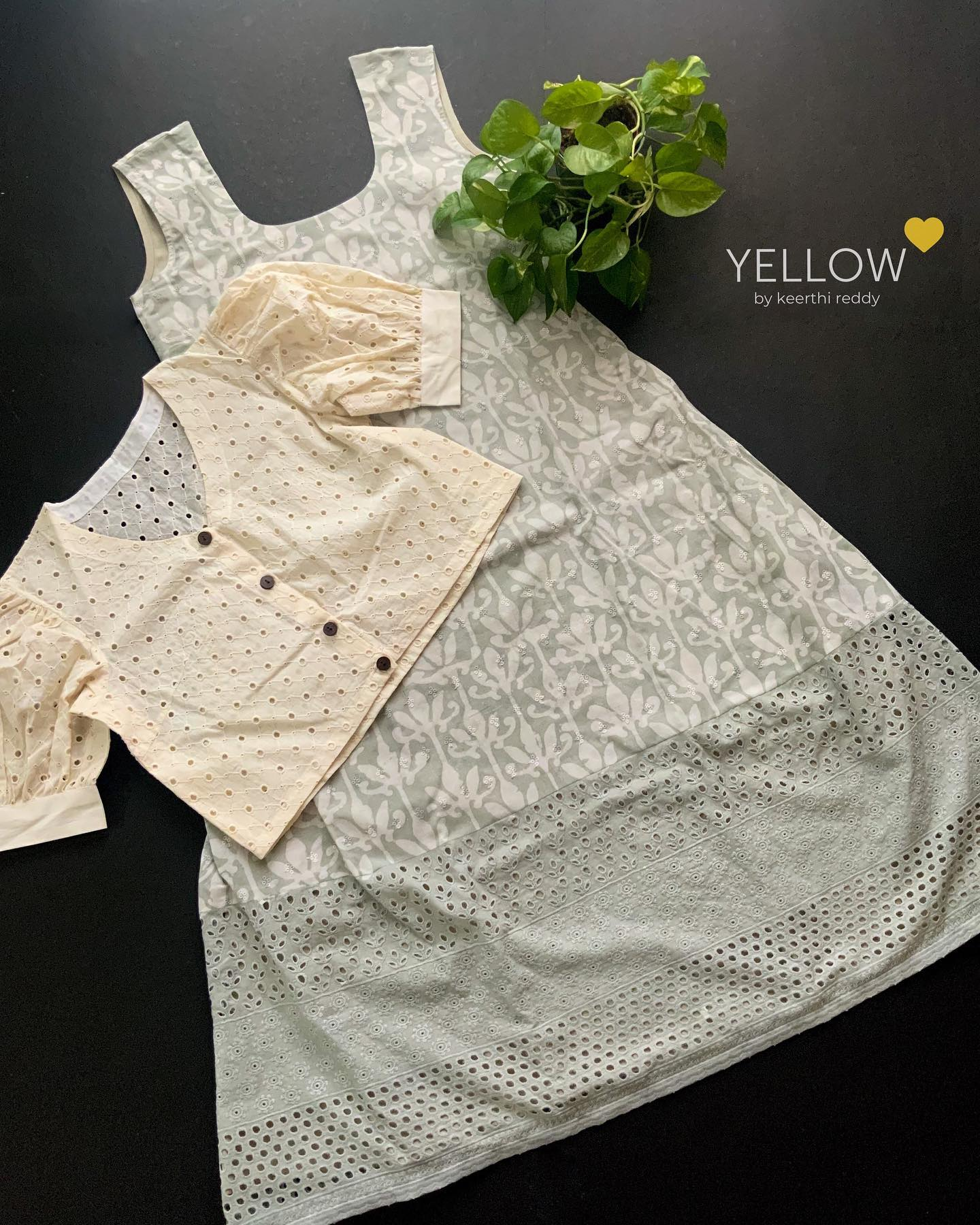 Pastel Cotton printed A line Kurti with crochet highlights paired up with detachable lace overcoat with balloon sleeves and  wooden buttons opening .   Size - S  M L XL XXL Price - 3850 INR (Includes overcoat)  . . Kindly WhatsApp  @ 7995038888 for placing orders . 2021-08-04