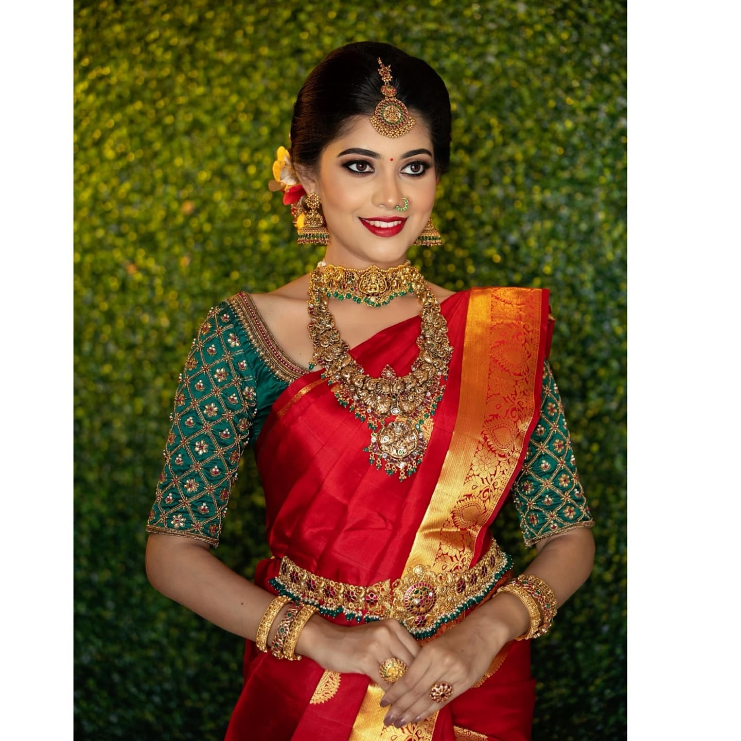 Stunning bottle green color bridal blouse with floral and grid hand embroidery aari work. 2021-08-04