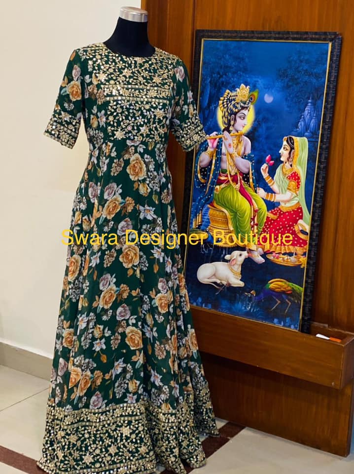 Stunning green color floral floor length long frock with embroidery work on yoke and boarder.  2021-08-04