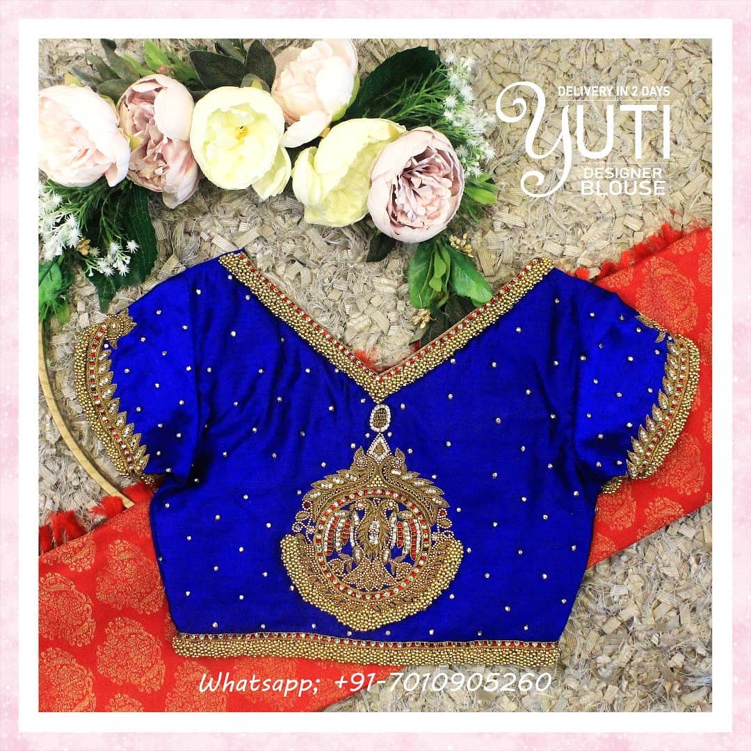 Stunning royal blue color V neck bridal blouse with bead and stone aari work. 2021-08-04