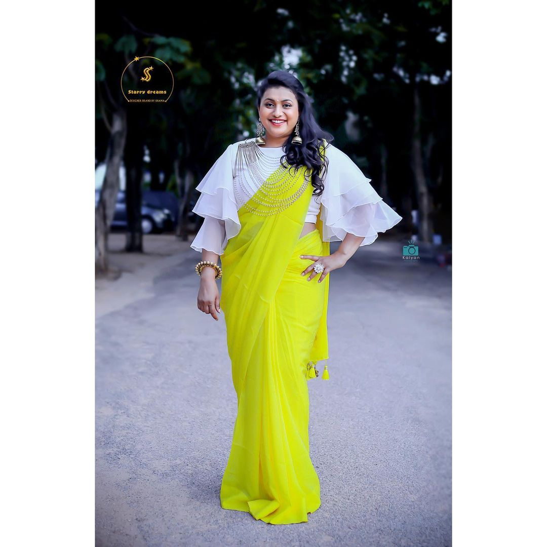 Beautiful Roja Selvamani in yellow saree and pearl white ruffle sleeve blouse. Outfit : Starry dreams. 2021-08-04
