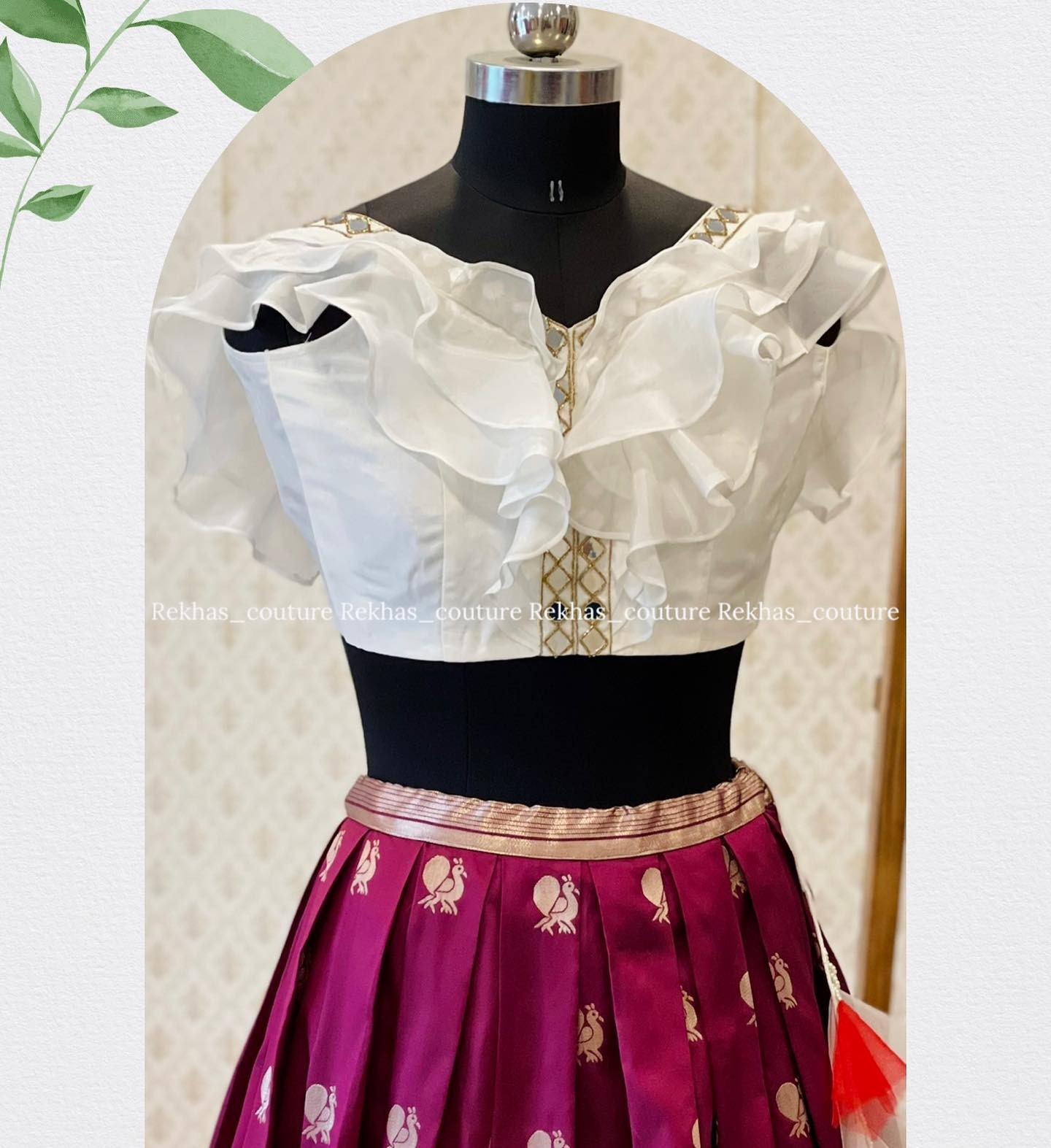 Beautiful purple pattu skirt and pearl white ruffle crop top.  2021-08-05