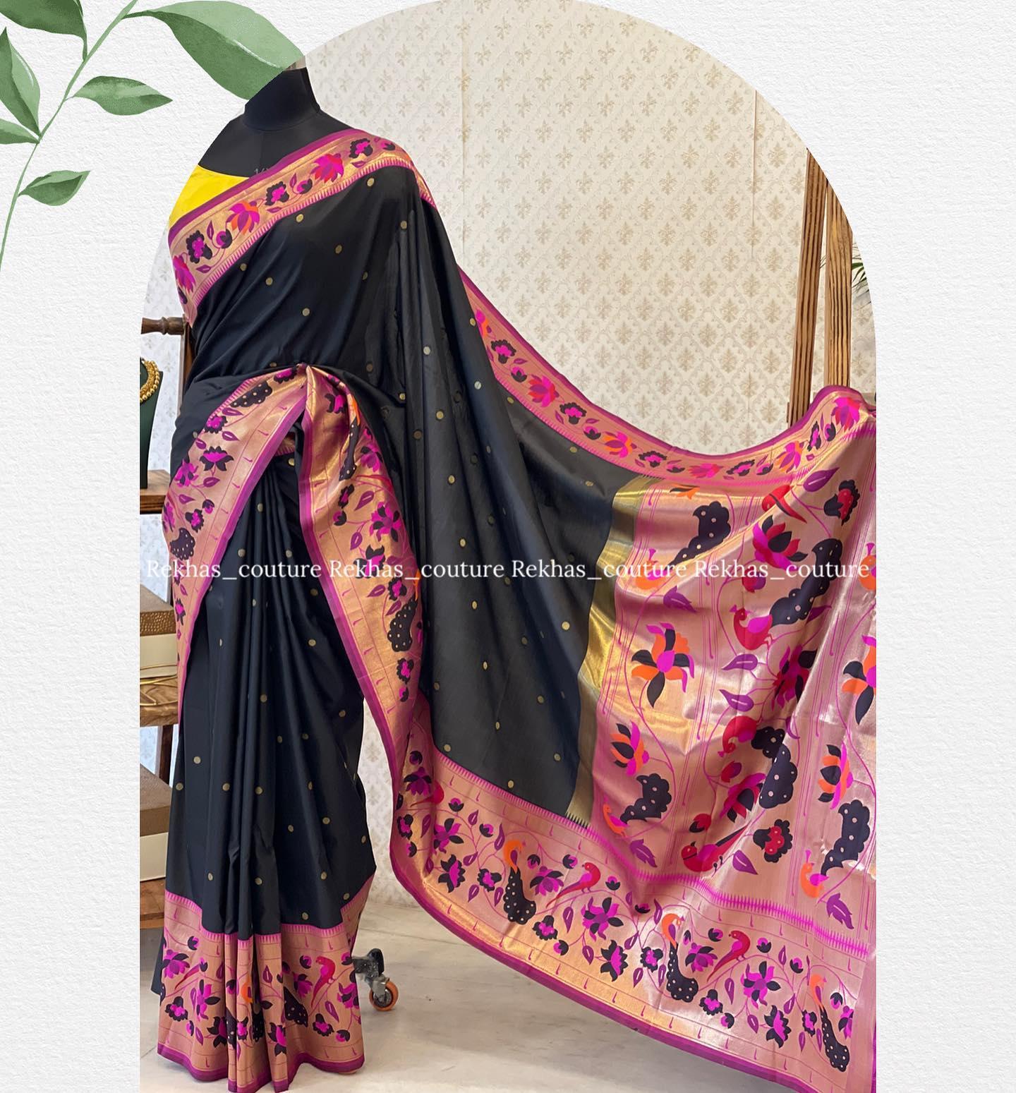 Beautiful black color paithani look saree and yellow blouse. 2021-08-05
