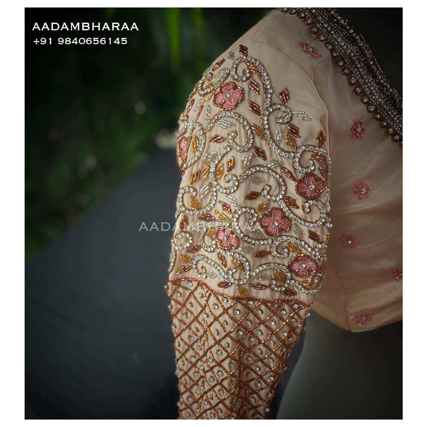 Gorgeous peach bridal blouse sleeve with tube and stone hand embroidery aari work.  2021-08-05