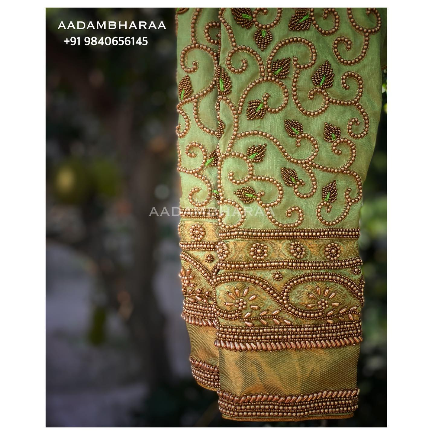 Lovely pista green color bridal blouse sleeve with creeper bead aari work. 2021-08-05
