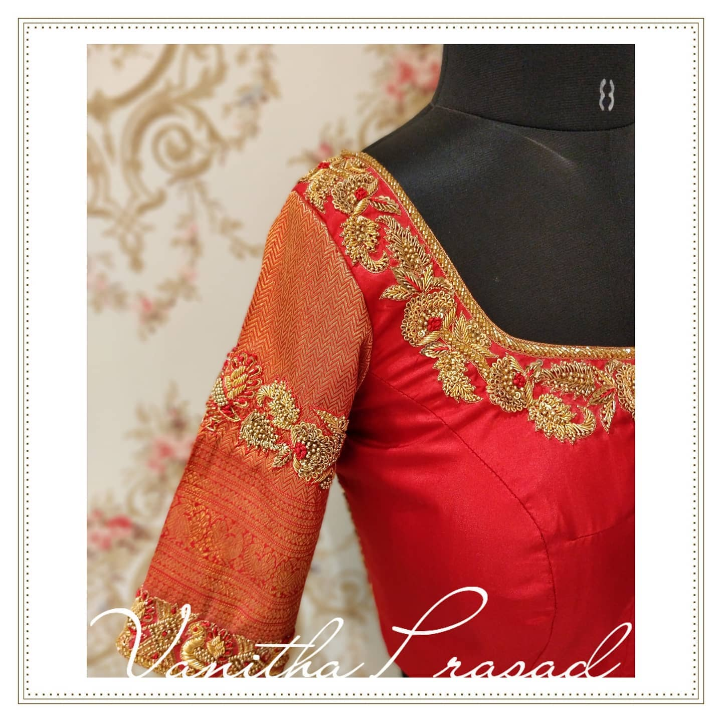 Stunning red color bridal blouse with floral hand embroidery zardosi work on neckline and sleeves. Embracing elegance in every detail. Subtly glamorised for the initmate weddings. 2021-08-05