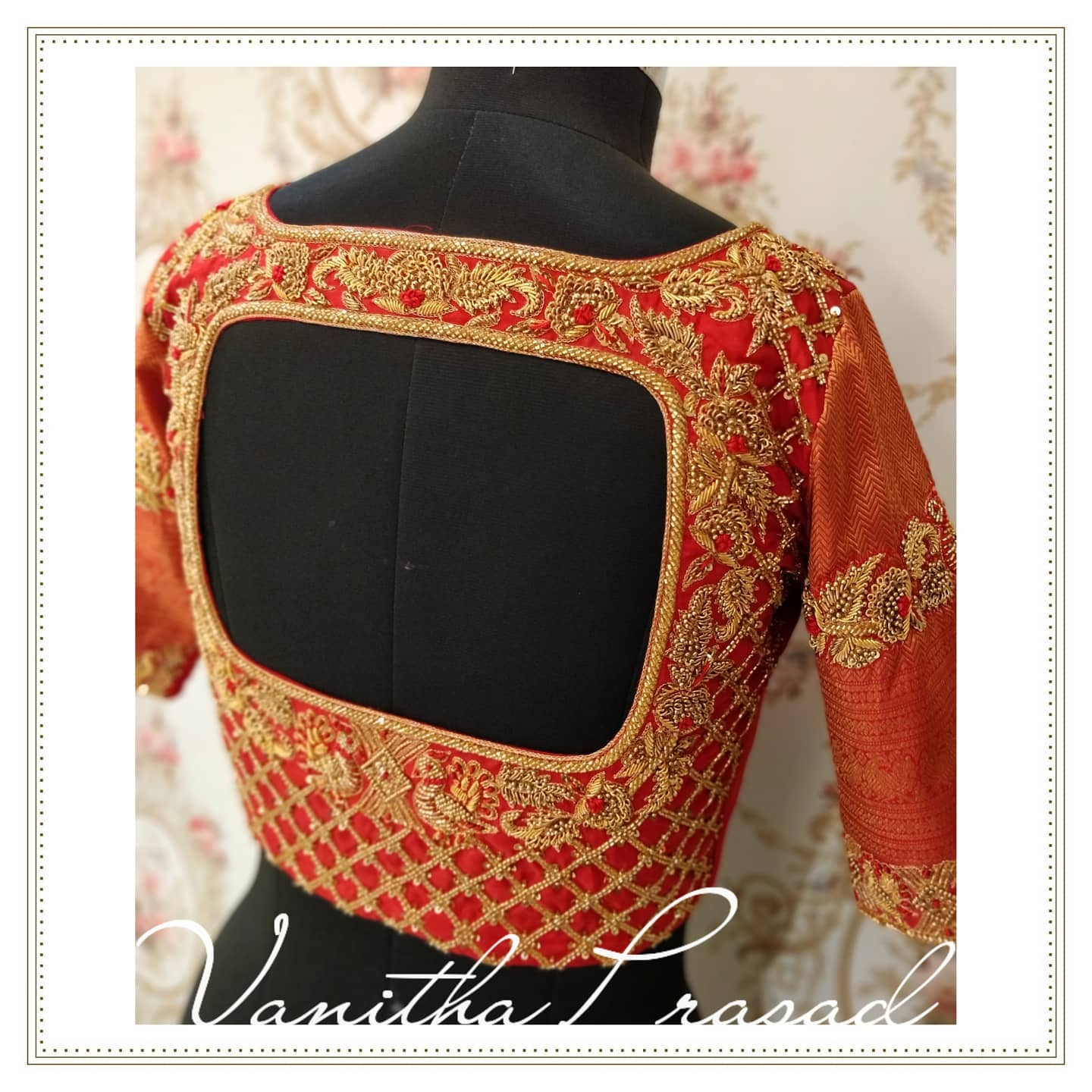 Stunning red color bridal blouse back with floral hand embroidery zardosi work on neckline and sleeves. Embracing elegance in every detail. Subtly glamorised for the initmate weddings. Super designs for the stunning brides. 2021-08-05